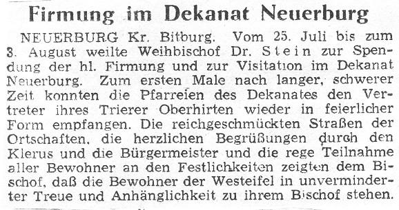 Firmung im Dekanat Neuerburg