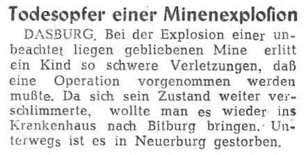 Todesopfer einer Minenexplosion