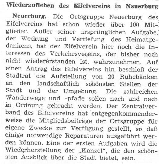 Wiederaufleben des Eitelvereins in Neuerburg