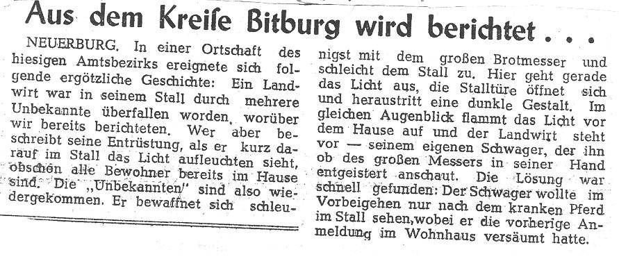 Aus dem Kreise Bitburg wird berichtet